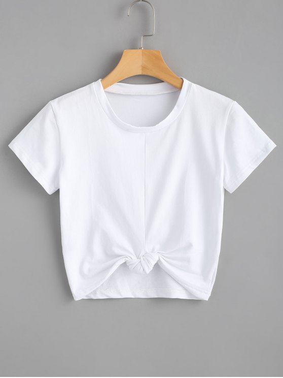 latest Cute Twist Tied Top - WHITE S
