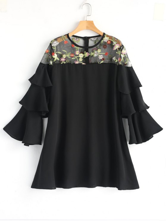 fancy Floral Embroidered Tiered Sleeve Mini Dress - BLACK L