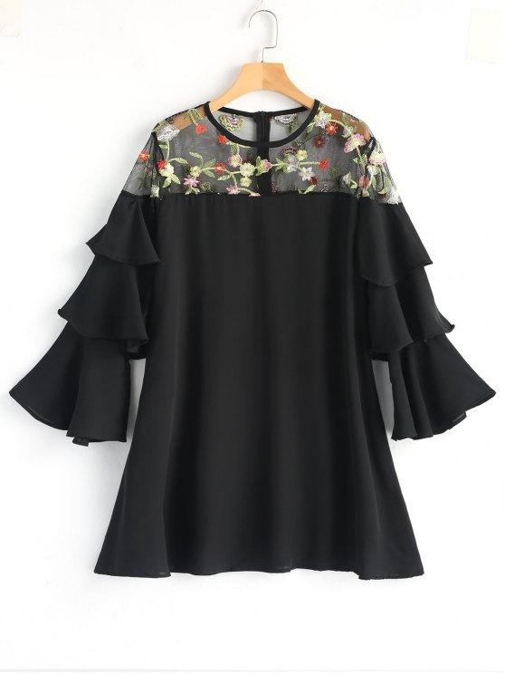 Mini-robe brodée à manches courtes à fleurs - Noir L