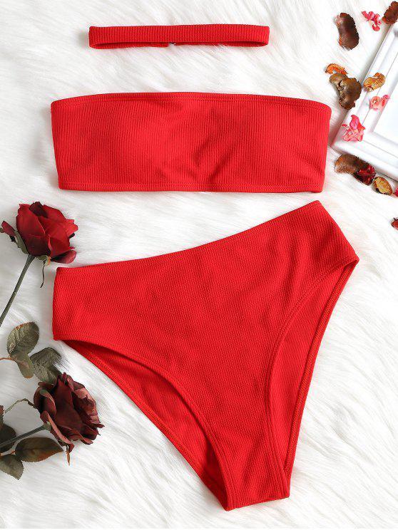Conjunto de bikini acanalado de talle alto con gargantilla - Rojo S