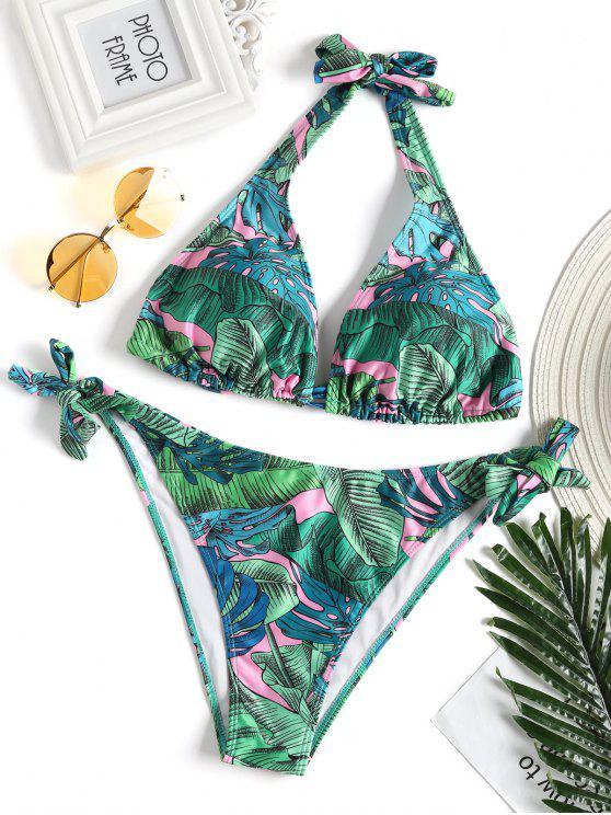 Blatt Druck Riemchen Seitlicher Plus Größer Bikini Badeanzug - Grün 2XL