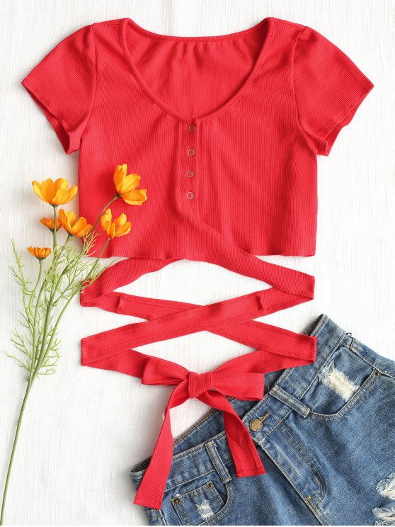 ladies Button Up Criss Cross Ties Top - RED S