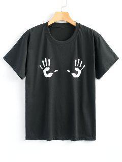 Cotton Handprint Graphic Tee - Black M