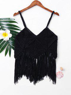 Crochet Fringe Sleeveless Cover Up Top - Black L