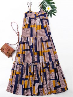 Patchwork Print Spaghetti Strap Dress - Xl
