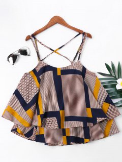 Patchwork Print Cami Strap Bluse - Xl