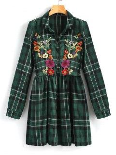 Vestido Camisero Bordado A Cuadros - Verde M