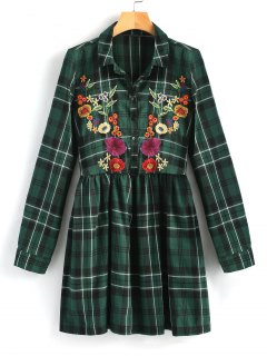 Embroidered Checked Smock Shirt Dress - Green L