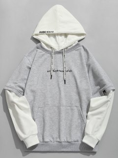 Letter Embroidered Contrast Color Hoodie - Gray 2xl