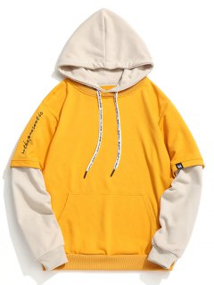 Contrast Color Pouch Pocket Pullover Hoodie - Ginger L