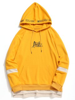 Contrast Color Insert Graphic Hike Hoodie - Ginger L