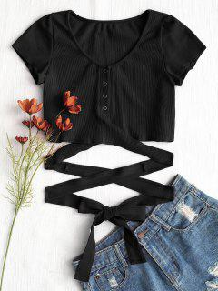 Button Up Criss Cross Ties Top - Black S
