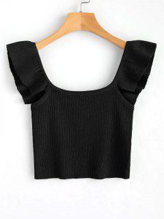 Knit Sleeveless Frilled Top - Black M