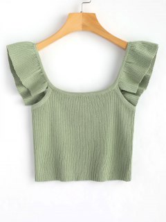 Knit Sleeveless Frilled Top - Green M