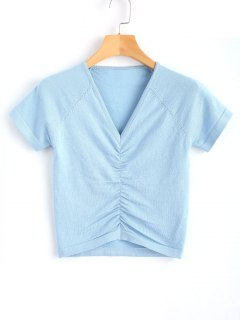 Knitted Gathered Top - Light Blue S