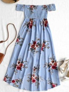 Vestido Asimétrico Con Hombros Caídos Y Asimétrico - Azul M
