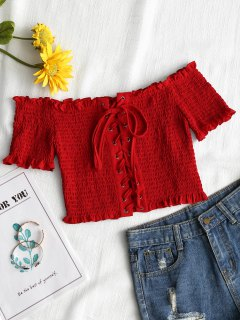 Lace Up Off Shoulder Smocked Top - Red M