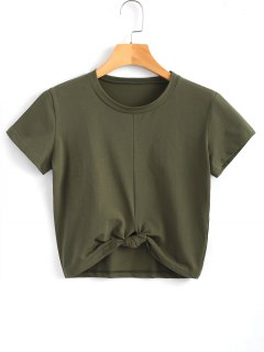 Cute Twist Tied Top - Army Green S