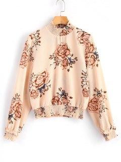 Geraffte Bluse Mit Blumenmuster - Blumen L