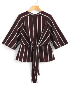 Tied Cut Out Striped Top - Stripe L