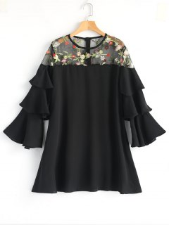 Floral Embroidered Tiered Sleeve Mini Dress - Black M