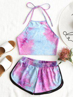Tie Dyed Crop Top And Elastic Shorts - Multi S