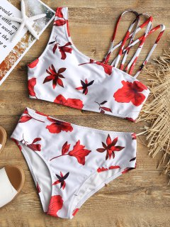 Ensemble Bikini à Bretelles Avec Imprimé Feuilles - Blanc M