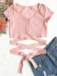 Button Up Criss Cross Ties Top - Pink M