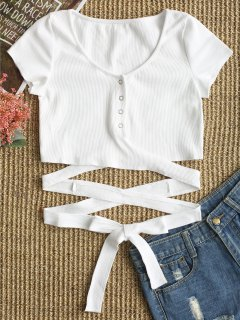 Button Up Criss Cross Ties Top - White S