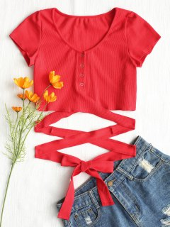 Button Up Criss Cross Ties Top - Red M