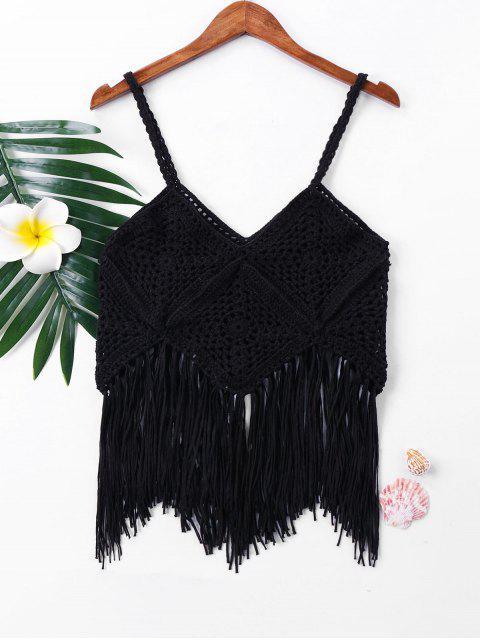 women Crochet Fringe Sleeveless Cover Up Top - BLACK S Mobile