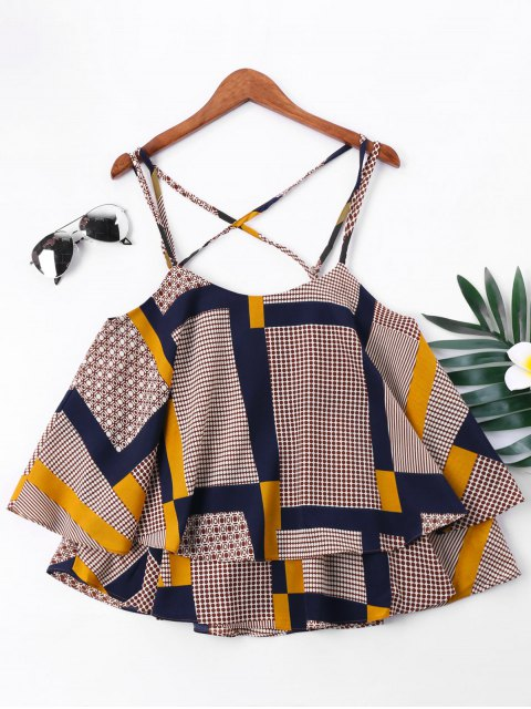 Blusa de tirantes de Cami con estampado de patchwork - Colores Mezclados XL Mobile