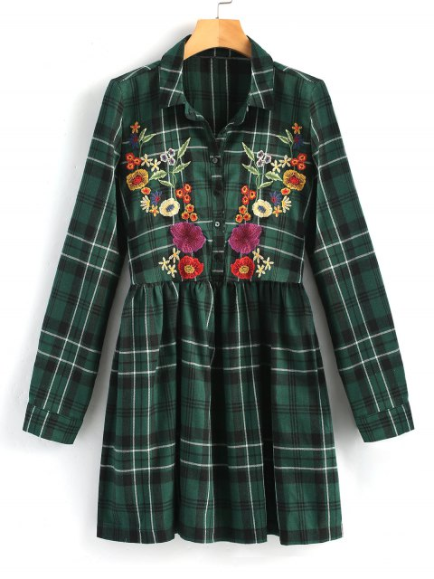 hot Embroidered Checked Smock Shirt Dress - GREEN XL Mobile