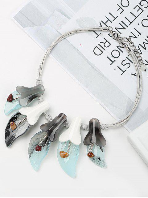 trendy Sweet Fringed Flower Bud Pendant Necklace - BLUE  Mobile