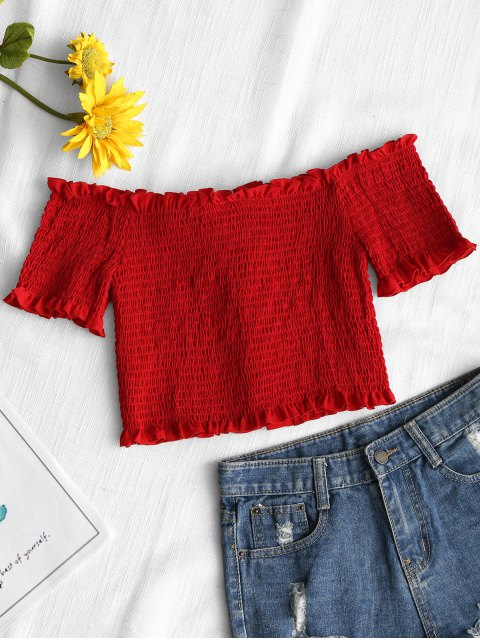 ladies Lace Up Off Shoulder Smocked Top - RED M Mobile