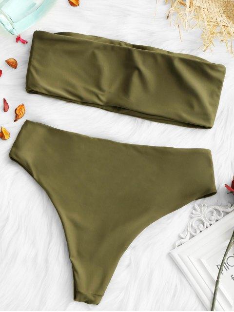 Conjunto de bikini con adornos de corte alto y acolchado - Ejercito Verde S Mobile