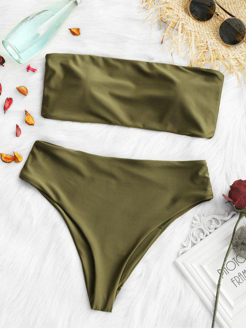 affordable Padded High Cut Bandeau Bikini Set - ARMY GREEN S Mobile