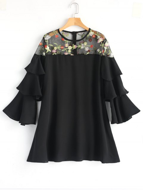 fancy Floral Embroidered Tiered Sleeve Mini Dress - BLACK L Mobile