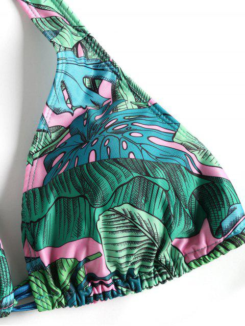 women's Leaf Print Tie Side Plus Size Bikini Swimwear - GREEN XL Mobile