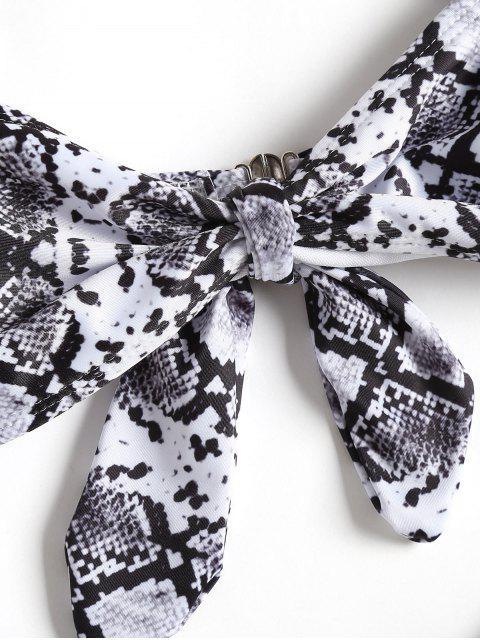 shop Knotted Snakeskin Print High Cut Bikini Set - COLORMIX S Mobile