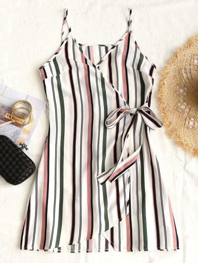 Striped Tie Side Surplice Slip Dress - Stripe L
