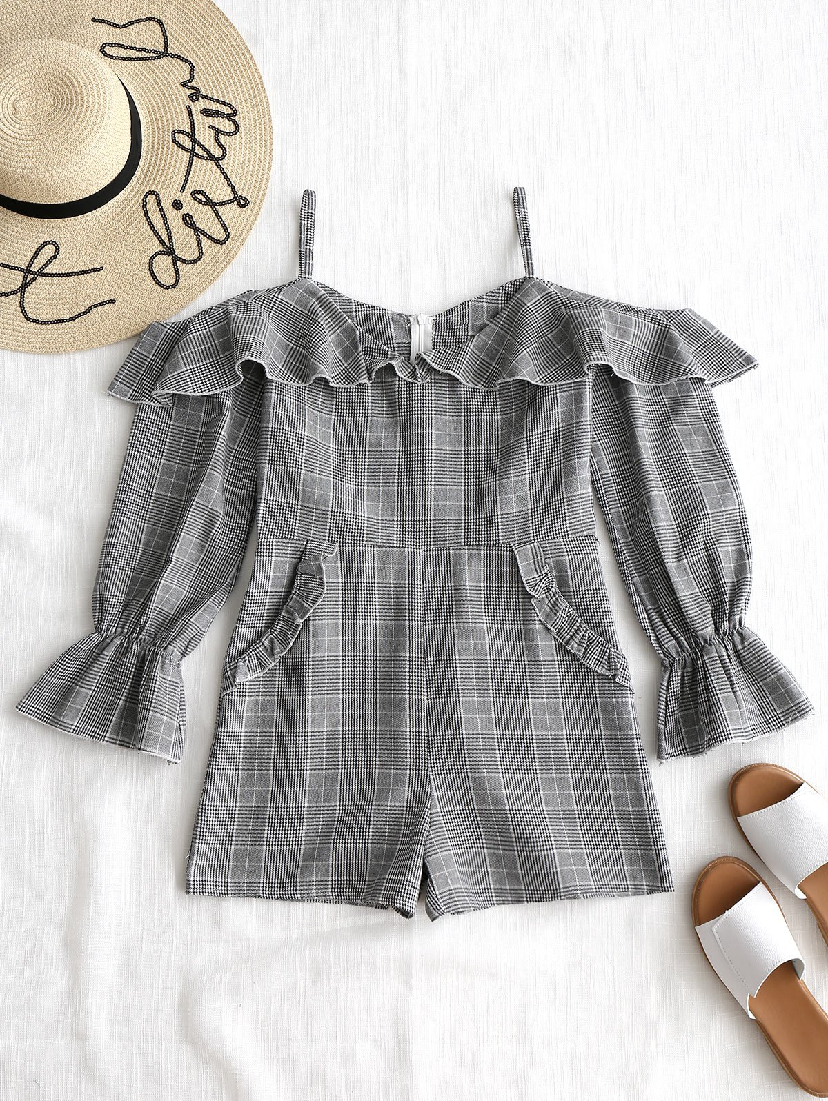 Ruffled Checked Off The Shoulder Romper 256563801