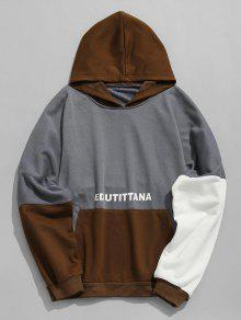 Capucha Graphic Con Color Block Gris Sudadera 3xl Azulado wqqfAHI