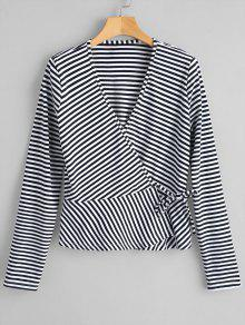 Ruffles Wrap Striped Top
