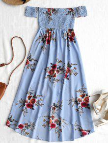 Smocked التداخل قبالة الكتف فستان غير متناظرة - أزرق M