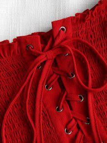 S Con Top Rojo Hombros Deshilachado Descubiertos 76Y0xXPvwq