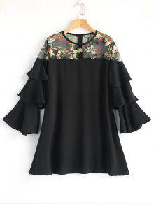 فستان مطرز كم قصير من الزهور - أسود L