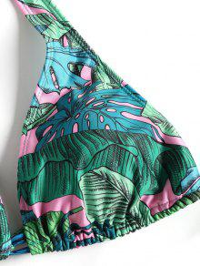 665cd690b6989 66% OFF  2019 Leaf Print Tie Side Plus Size Bikini Swimwear In GREEN ...