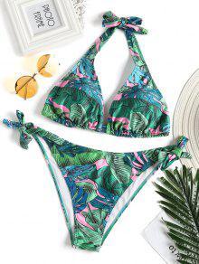 لباس سباحة بمقاس كبير مزين بطبعة أوراق النباتات - أخضر Xl