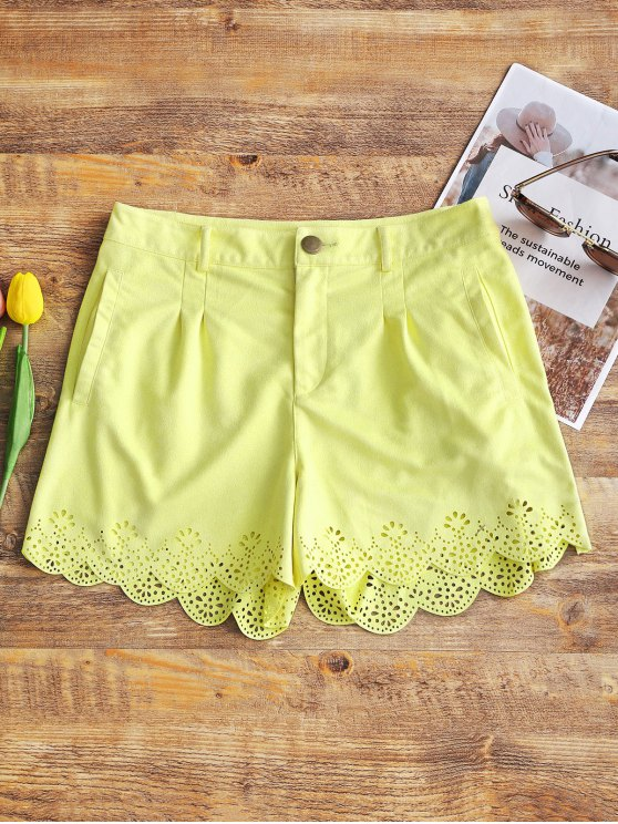 Hoch taillierte Faux Suede Shorts - Hellgelb L